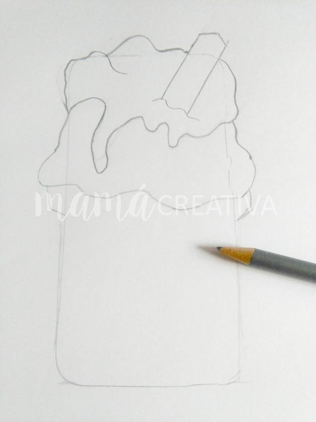 funda de helado para móvil boceto