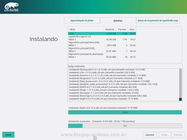 Detalhes do processo de instalação do openSUSE Leap 42.3