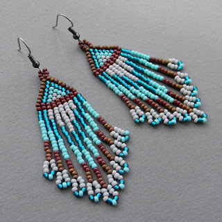 turquoise and brown seed bead earrings