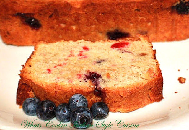 this is a banana blueberry coconut cherry quick bread made from scratch