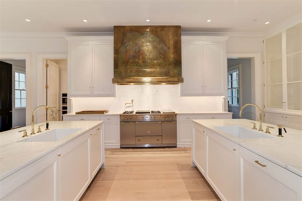 Kitchen Washington DC luxury house brass range hood mansion Kalorama regency style limestone