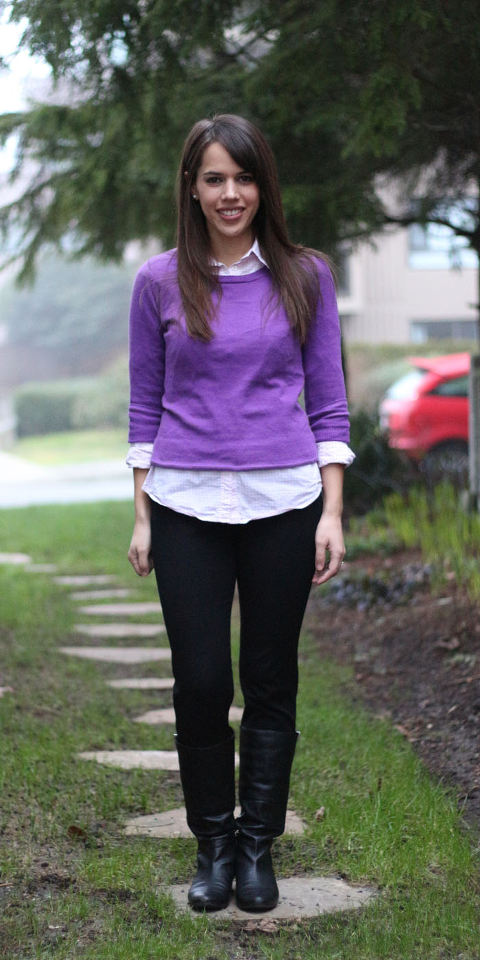 84ed43d992 jules in flats  February 2 - Purple Sweater with Pink Gingham ...