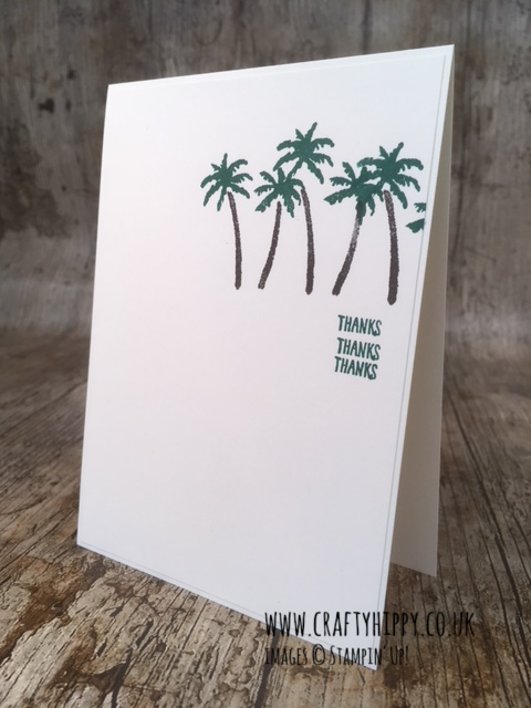 This image shows a simple handmade card with some palm trees and the word 'thanks' three times and is made from the Waterfront stamp set from Stampin' Up!