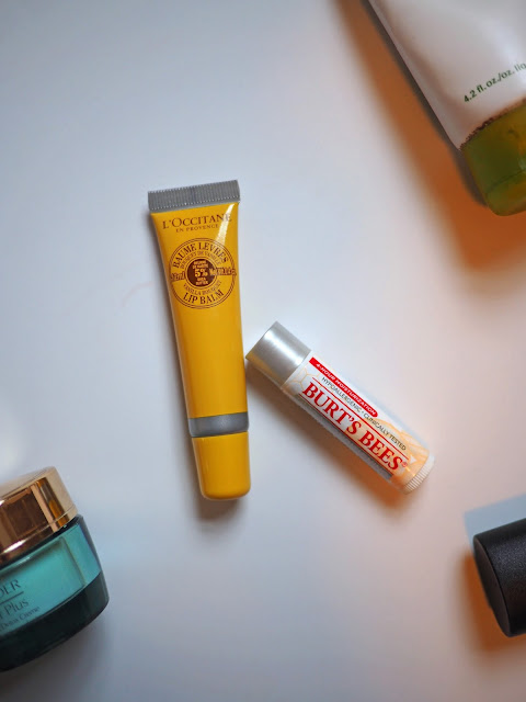 Skincare, lip balm, L'Occitaine, Burt's Bees