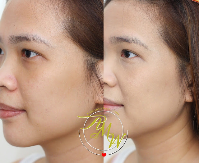 a before and after photo of L'Oreal True Match Genius 4-in-1 Primer Foundation Concealer Powder in shade G1 Gold Ivory.