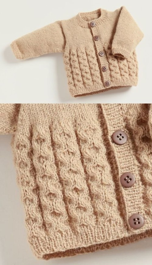 Knitting Baby Cardigan with Cables - Free Pattern