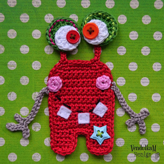Crochet monster applique - crochet pattern by VendulkaM