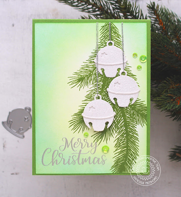 Sunny Studio Stamps: Silver Bells Die Green, White, and Silver Christmas Card by Vanessa Menhorn