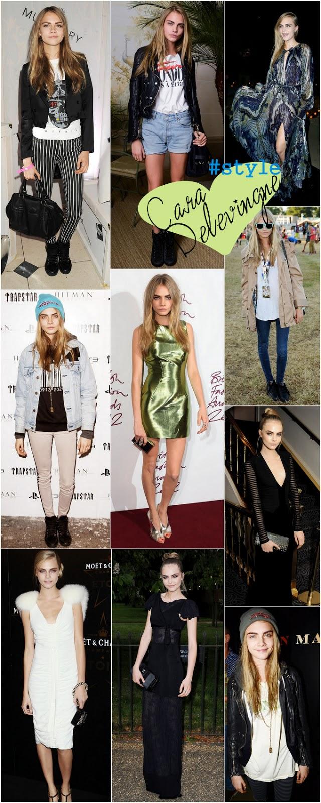 Looks despojados e modernos de Cara Delevingne em Red Carpets e nas semanas de moda PFW, NYFW.