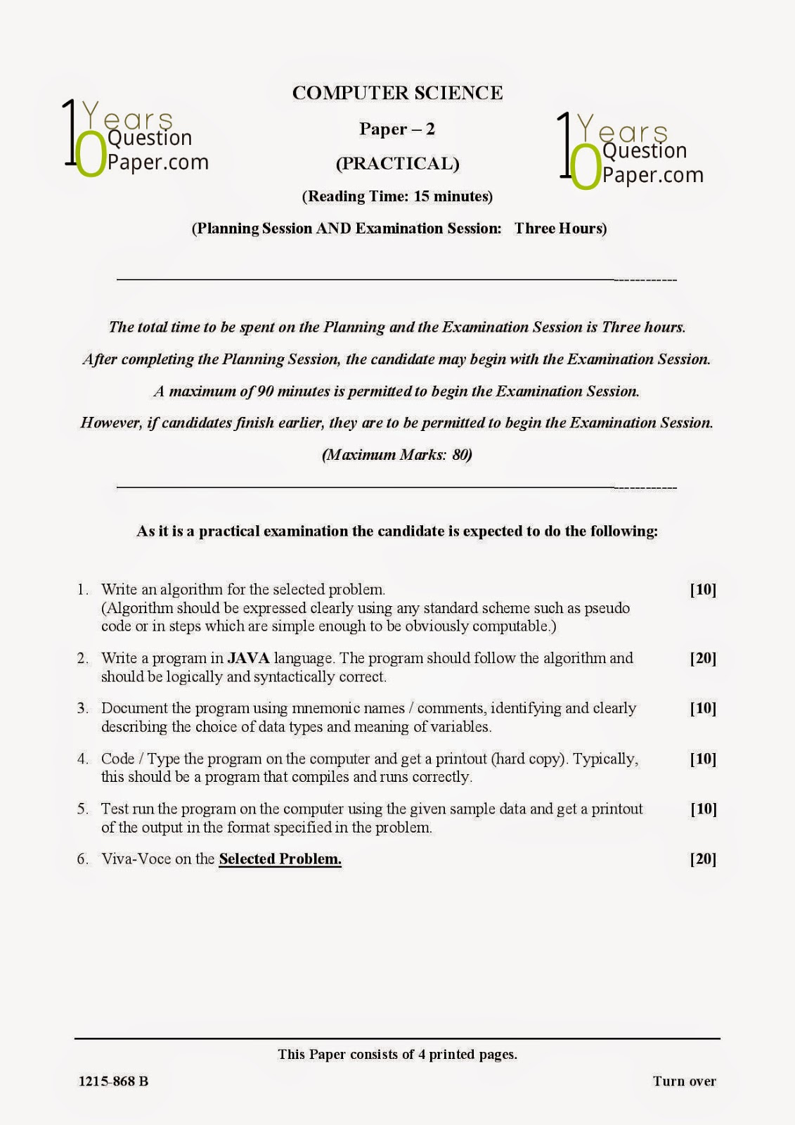 isc 2015 class 12th computer science practical question paper