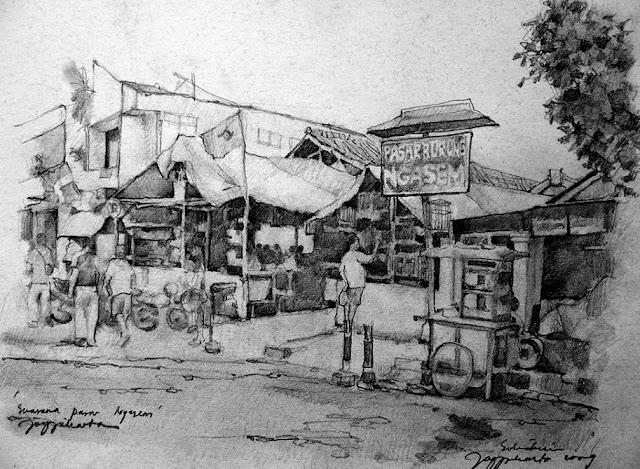 Sketsa Suasana Pasar Burung Ngasem Jogjakarta