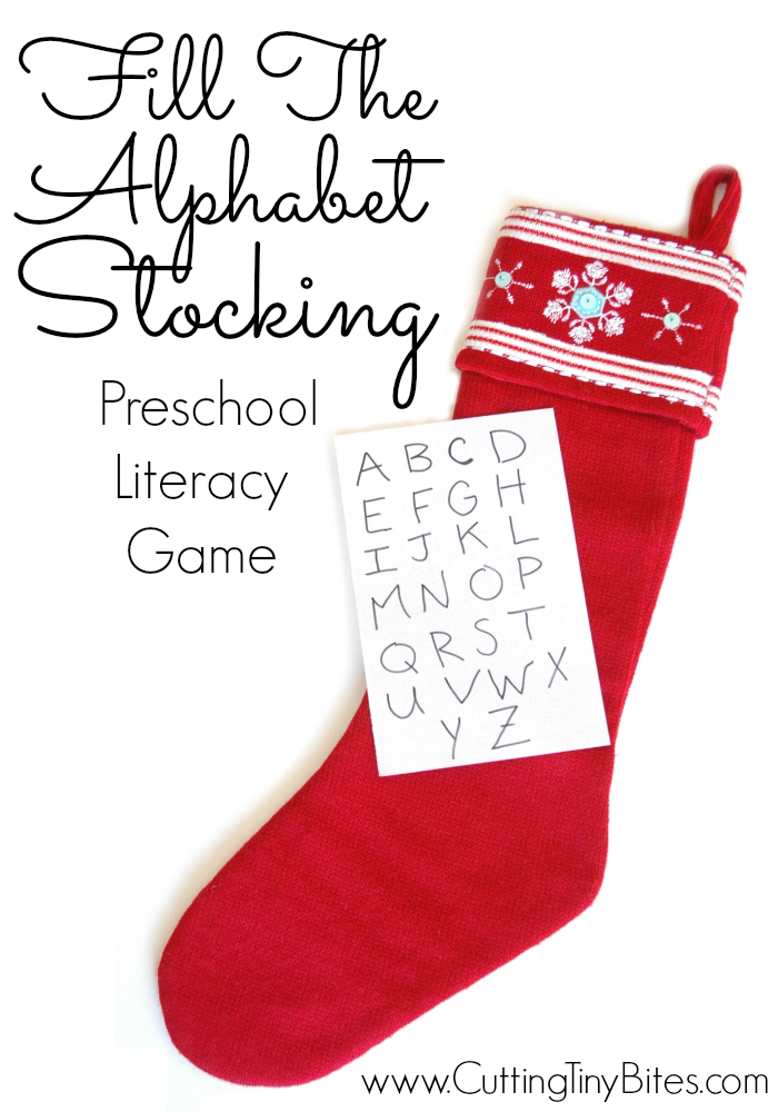 Fill the Alphabet Stocking: Quick and easy Christmas literacy scavenger hunt activity for toddlers or preschoolers. No prep required!