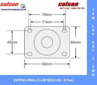 Kích thước Bánh xe cao su Performa càng nhựa Colson phi 75 - 3inch chịu lực 70kg