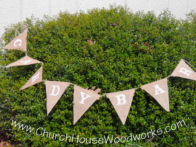 Burlap Candy Bar Flag Banner- 6 Feet Long- Great For Rustic Weddings, Baby Showers, Birthdays by Church House Woodworks
