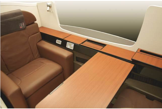 The new JAL Suite is redesigned with a wooden trim