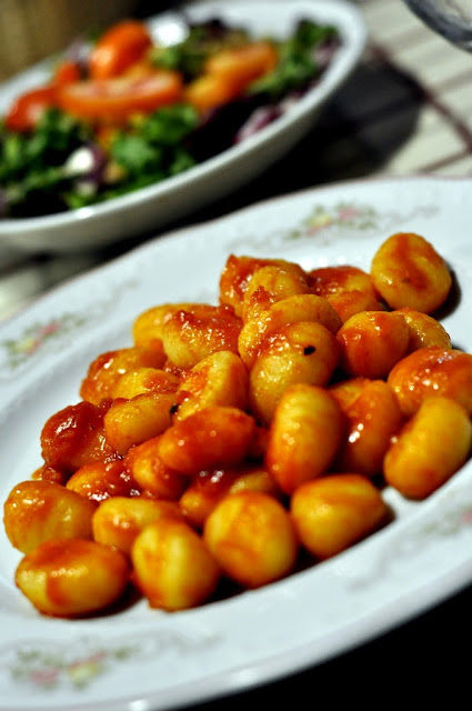 Gnocchi with Tomato and Basil and Insalata Mista - Vecchia Osteria in Ponte a Bozzone, Italy | Taste As You Go