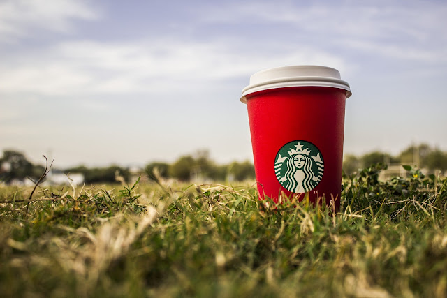 starbucks, coffee, cup, grass, logo