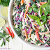 Raw Thai Kale Slaw with a Creamy Ginger-Almond Butter Dressing
