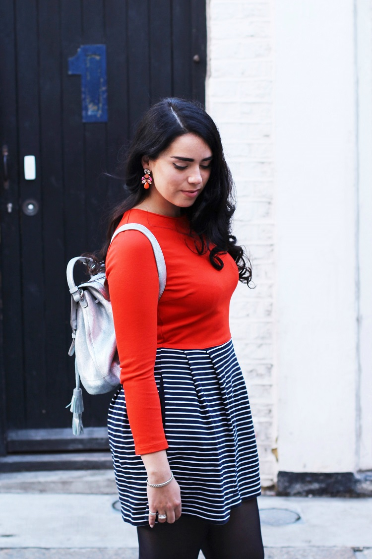 Silver leather backpack - London fashion blogger Emma Louise Layla