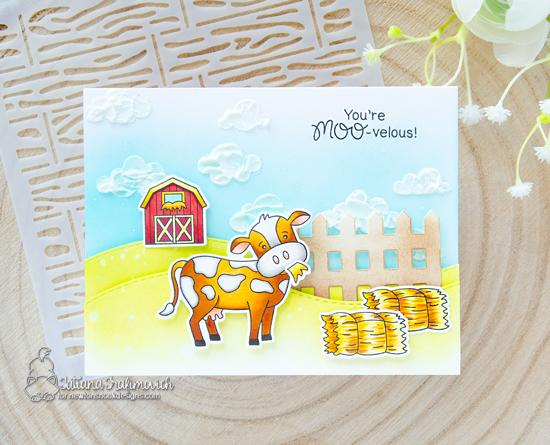 Cow Card by Tatiana Trafivomich   Moo Stamp Set, Land Borders Die Set, Fence Die, and Cloudy Sky Stencil by Newton's Nook Designs #newtonsnook #handmade
