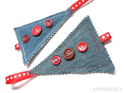 http://www.allfreechristmascrafts.com/Christmas-Ornament-Crafts/Christmas-Tree-Decorations-Using-Recycled-Denim-Fabric#vy6DOv11FigeLyoc.32