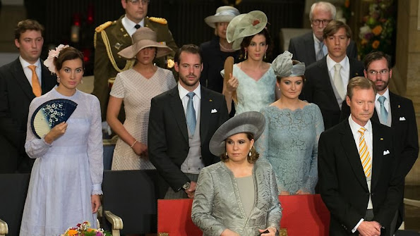 Members of the Grand Ducal Family of Luxembourg attended Te Deum Church Service, Maria Teresa, Grand Duke Guillaume and Grand Duchess Stephanie, Prince Louis and Princess Tessy, Prince Félix and Princess Claire