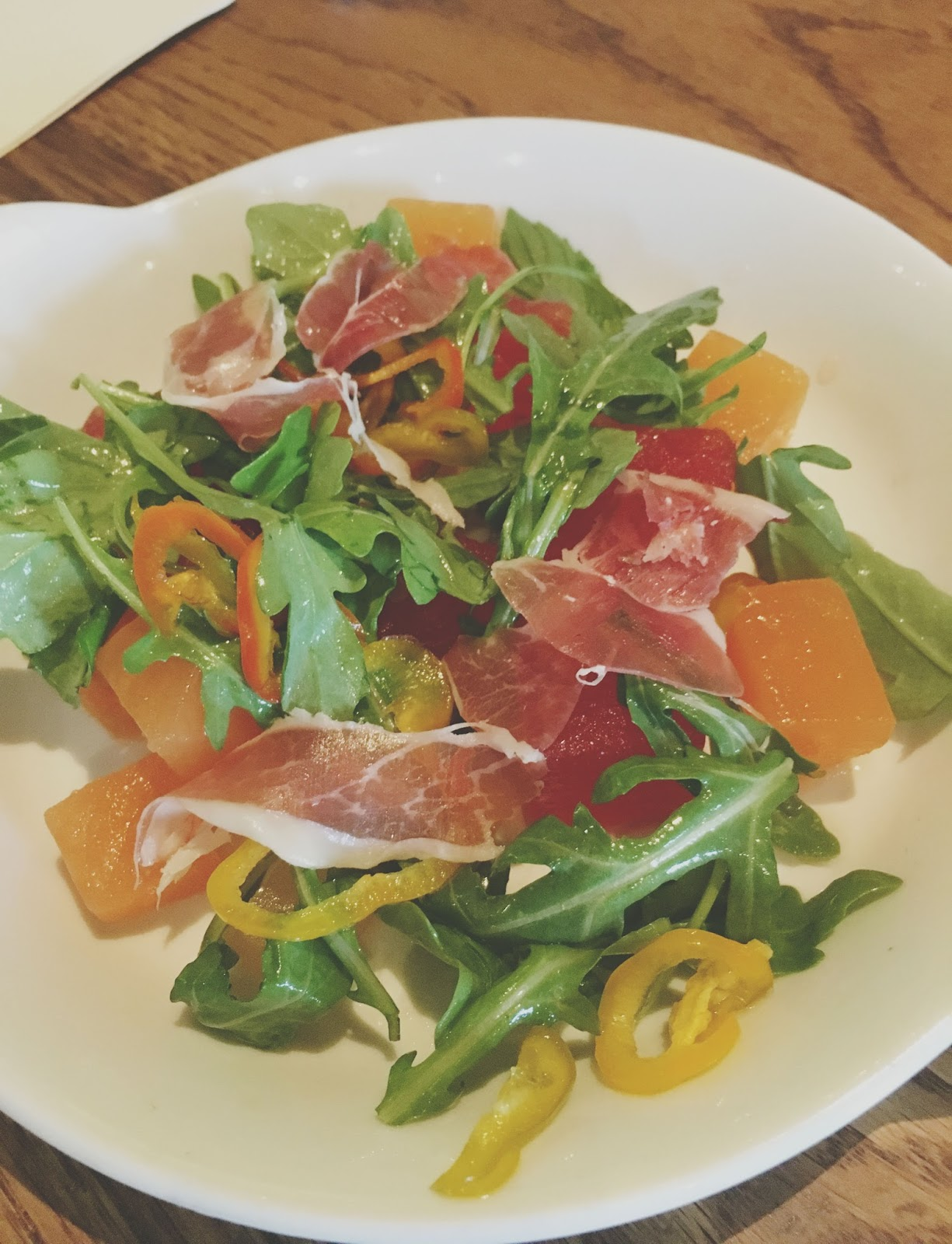 ham & melon salad at Hunky Dory - A restaurant in Houston, Texas