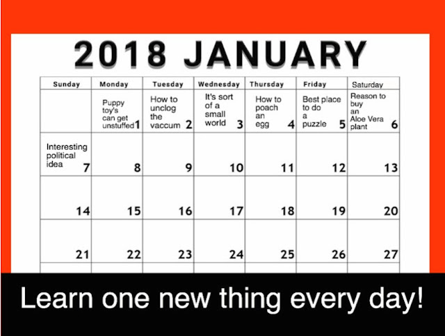 Learn one new thing each day calendar