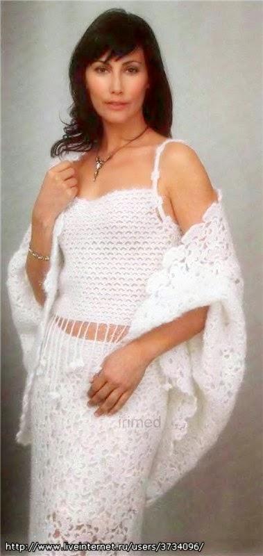 Top, pollera y chal crochet