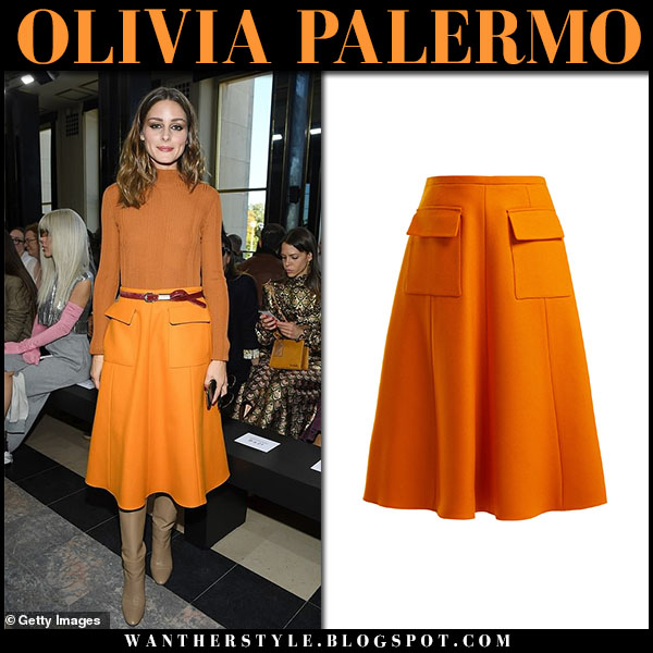Olivia Palermo in rochas orange midi skirt, orange sweater and leather boots paris fashion week outfits september 26