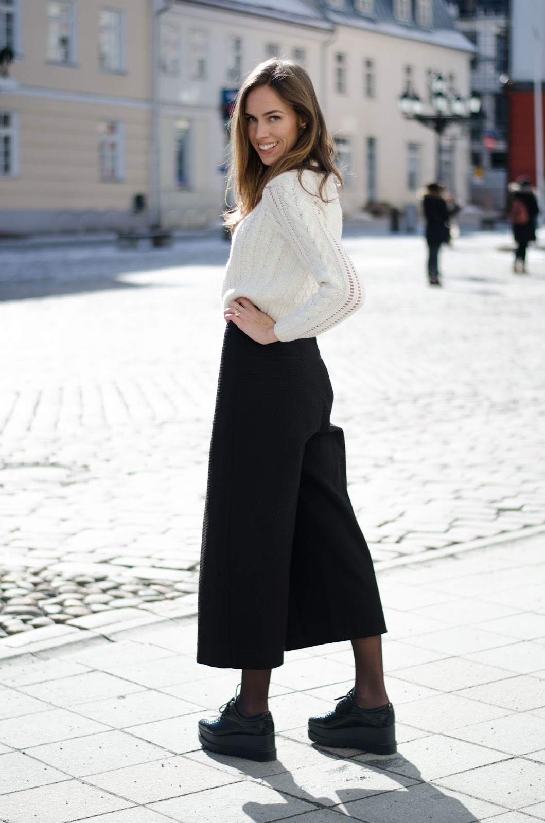 kristjaana mere cropped pullover culotte pants winter outfit