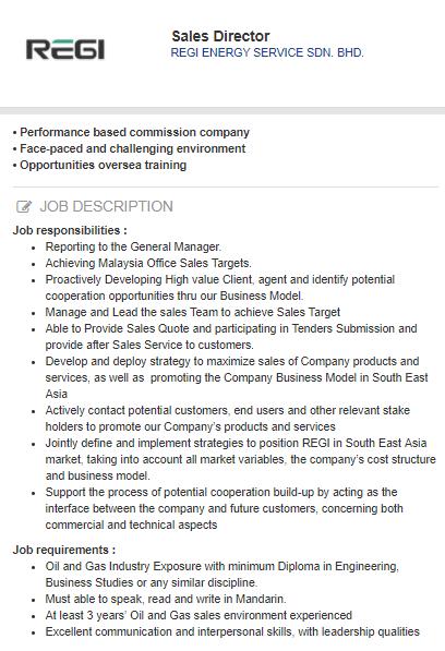 Sales Director  REGI ENERGY SERVICE Kuala Lumpur