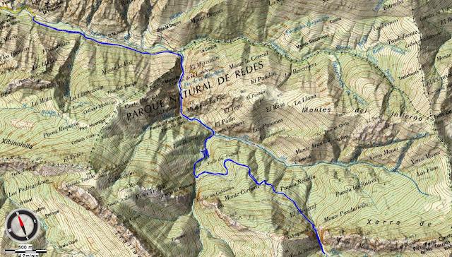 Mapa topográfico Foces del Río Infierno