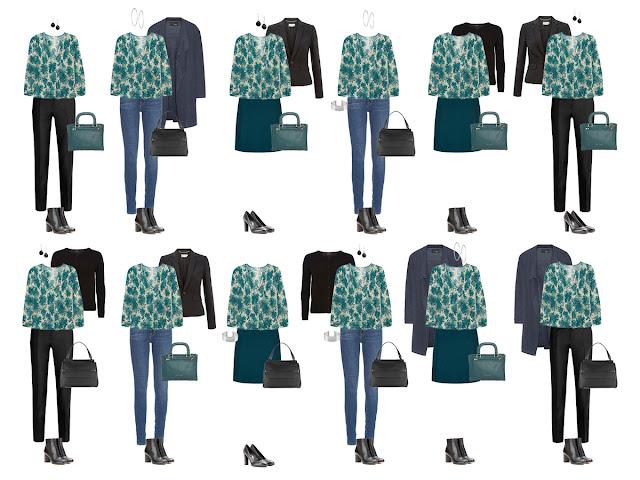 Комплекты капсульного гардероба с блузкой с принтом