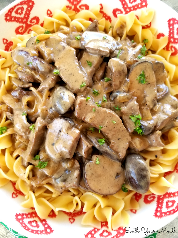 Beef Stroganoff with tender strips of steak, sliced mushrooms and sauteed onions in a velvety sauce made with real sour cream.