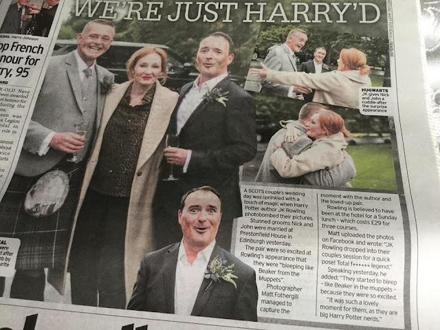 J.K. Rowling surpreende casal gay durante sessão de fotos de casamento | Jornal escocês Daily Record | Ordem da Fênix Brasileira