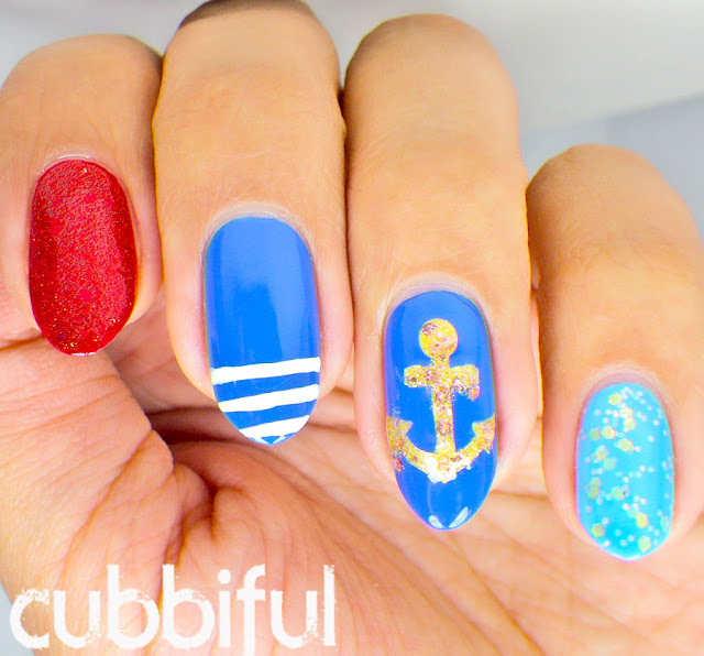 Glitter Sailor Nails