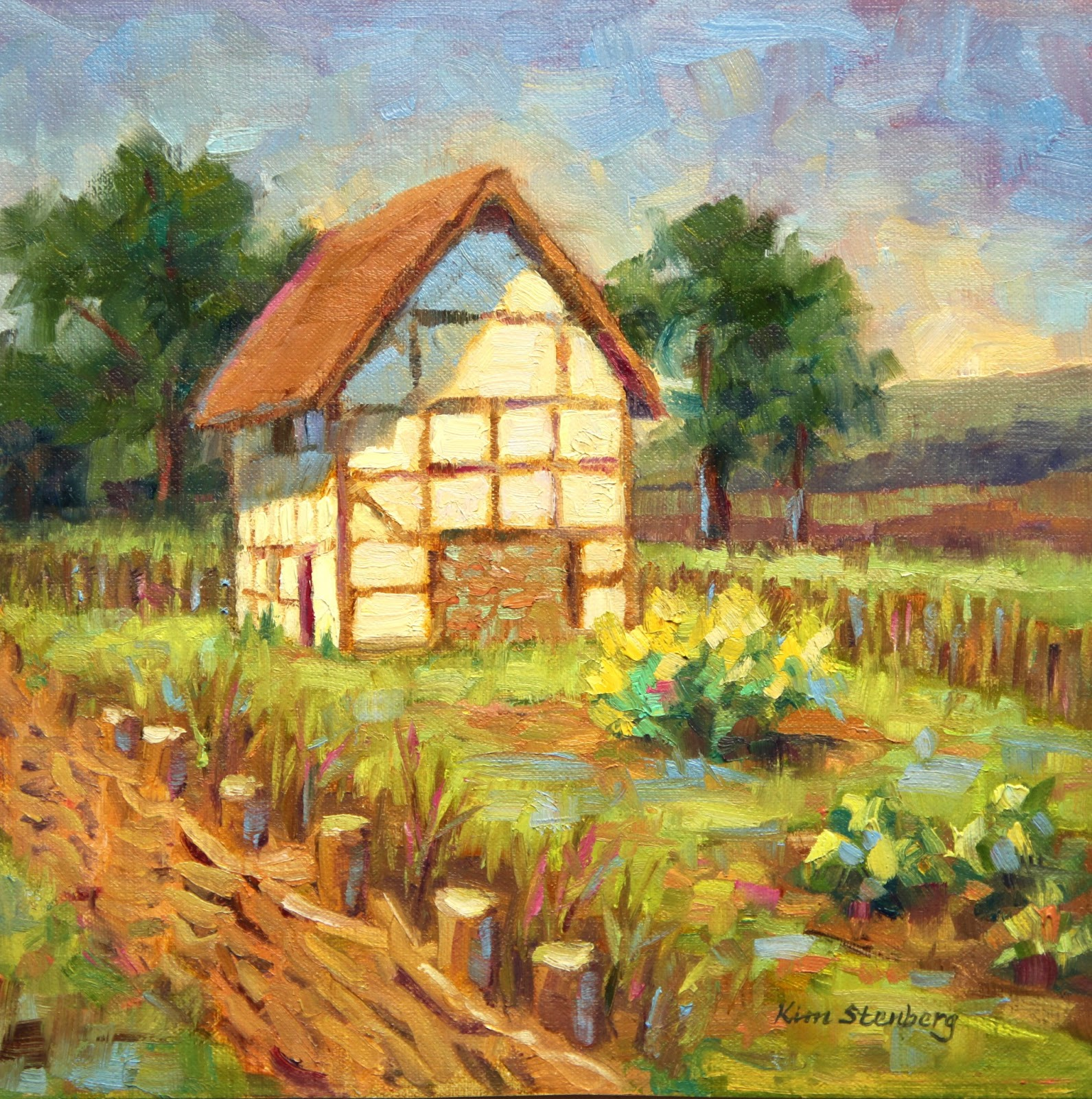 English country garden paintings -  Old English Cottage Oil On Linen 10 X 10 Sold