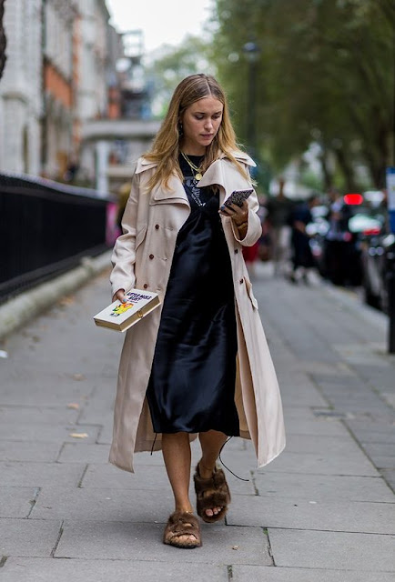 Pernille Teisbaek - Trench + Silk Cami Dress London Fashion Week LFW SS17 Street Style