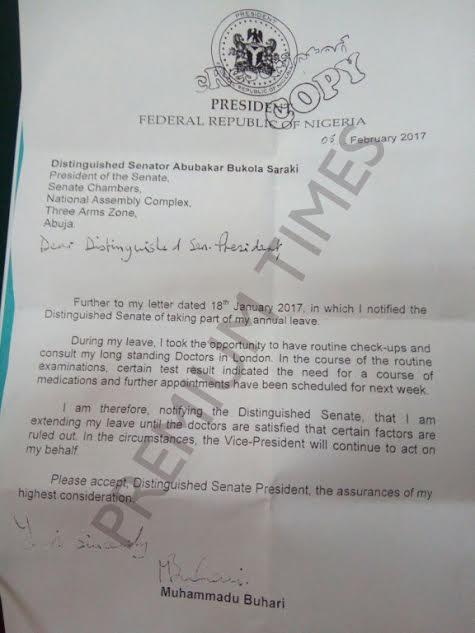 President Buhari writes Senate President