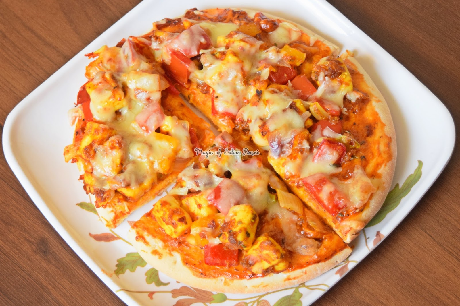 Paneer Tikka Pizza Recipe - Homemade Paneer Pizza without Tandoor - पनीर टिक्का पिज़्ज़ा रेसिपी - तंदूर के बिना घर पे बनाये पनीर पिज़्ज़ा - Priya R - Magic of Indian Rasoi
