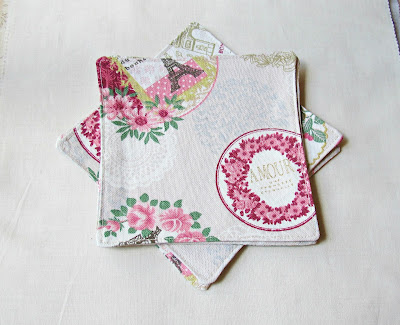 image shabby chic style fabric coasters cocktail napkins paris france eiffel tower doilies amour birdcage domum vindemia napery beige