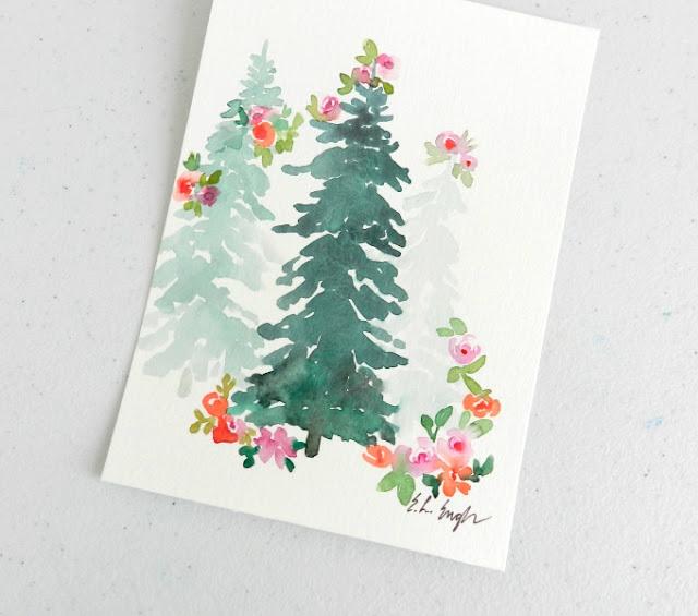 Watercolor Christmas Tree Painting