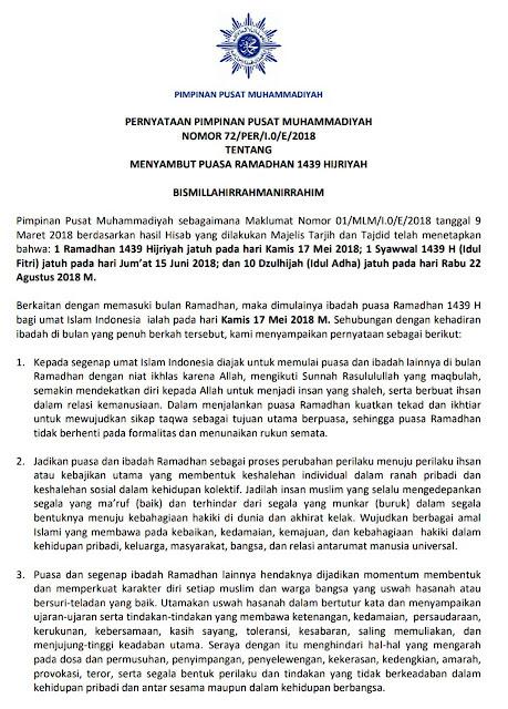 Siaran pers PP Muhammadiyah tentang Ramadhan 1439H / 2018M