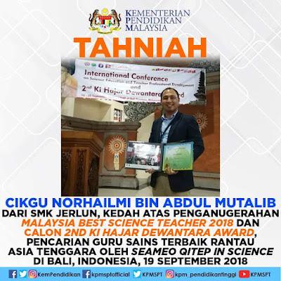 Guru Sains Terbaik di Anugerah Ki Hajar Dewantara 2018