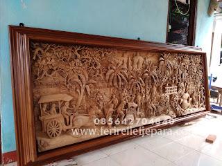 Ukiran Relief Pedesaan di Borobudur