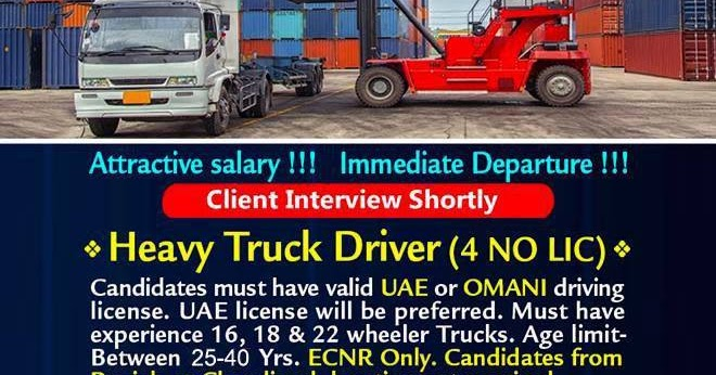 Heavy Truck Driver Required for Logistic Company – UAE