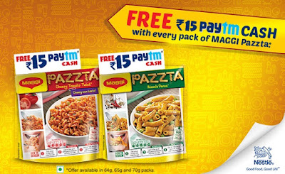 Paytm Cash Offer- Free Rs.15 Paytm Cash with every pack of Maggi Pazzta