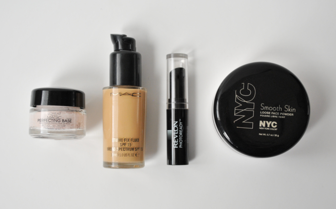 L'Oreal Studio Secrets Magic Perfecting Base, Mac 'Studio Fix' Fluid Foundation NC40, Revlon Photoready Light Medium 003 Concealer, New York Color Loose Face Powder Translucent