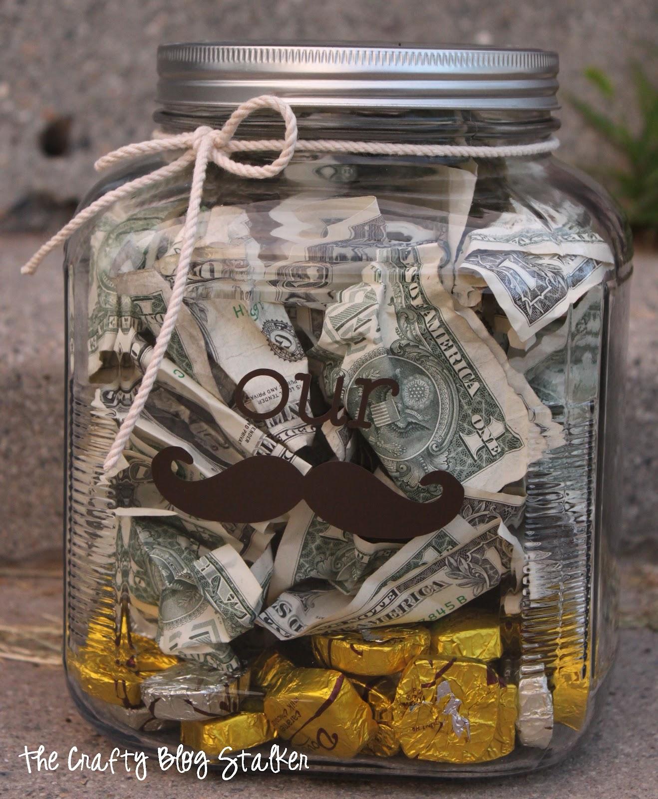"""Money """"Stache"""" Jar Wedding Gift"""